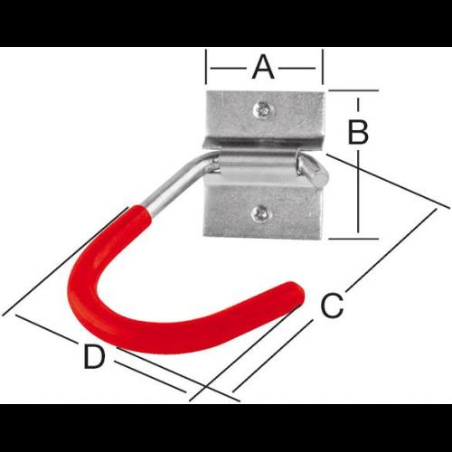 Handtuchhaken 1-Loch rot kunststoffbeschichtet